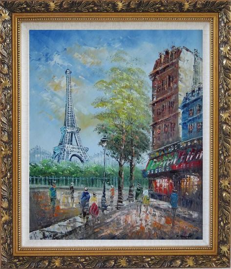 Framed Dreaming of Paris Oil Painting Cityscape France Impressionism Ornate Antique Dark Gold Wood Frame 30 x 26 Inches