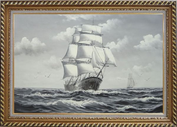 Framed Black White Big Fully Rigged Masted Ship Sailing on the Ocean Oil Painting Boat Classic Exquisite Gold Wood Frame 30 x 42 Inches