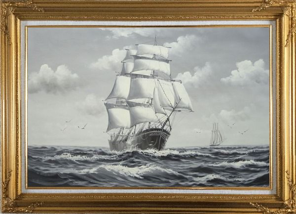 Framed Black White Big Fully Rigged Masted Ship Sailing on the Ocean Oil Painting Boat Classic Gold Wood Frame with Deco Corners 31 x 43 Inches