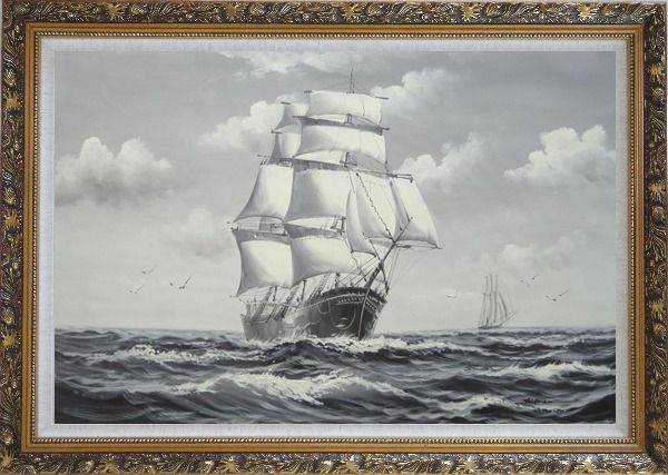 Framed Black White Big Fully Rigged Masted Ship Sailing on the Ocean Oil Painting Boat Classic Ornate Antique Dark Gold Wood Frame 30 x 42 Inches