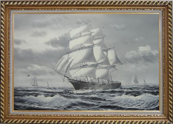 Framed Black White Three-Masted Full-Rigged Sailing Ship on Sea Oil Painting Boat Classic Exquisite Gold Wood Frame 30 x 42 Inches