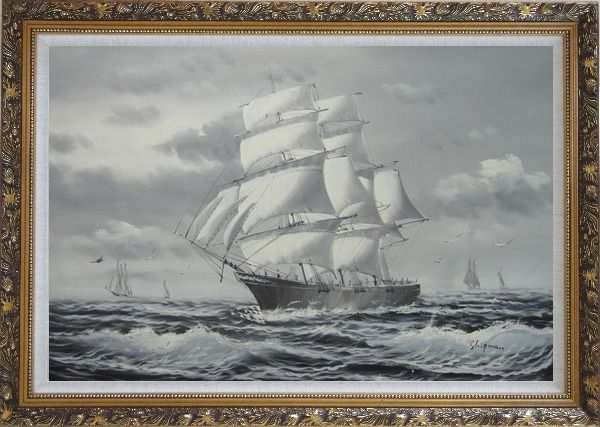 Framed Black White Three-Masted Full-Rigged Sailing Ship on Sea Oil Painting Boat Classic Ornate Antique Dark Gold Wood Frame 30 x 42 Inches