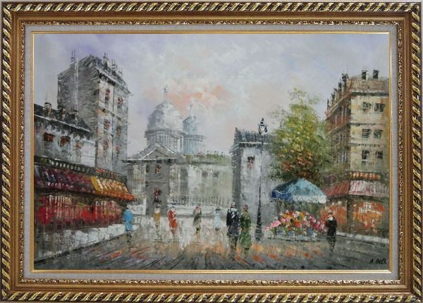 Framed  People Walk on Paris Street Oil Painting Cityscape France Impressionism Exquisite Gold Wood Frame 30 x 42 Inches
