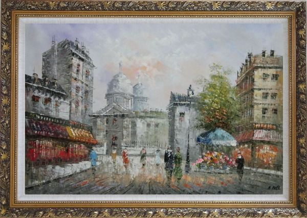 Framed  People Walk on Paris Street Oil Painting Cityscape France Impressionism Ornate Antique Dark Gold Wood Frame 30 x 42 Inches