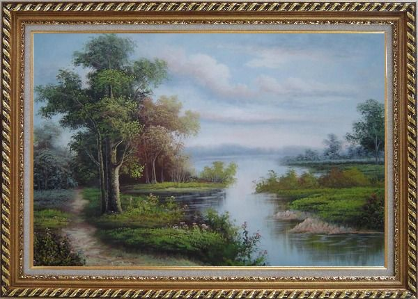 Framed Riverside Landscape Scene Oil Painting Classic Exquisite Gold Wood Frame 30 x 42 Inches