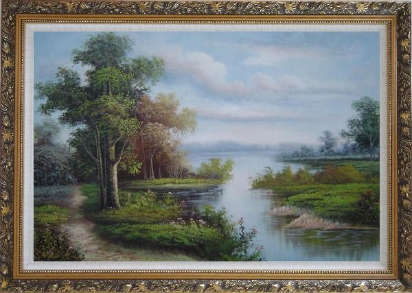 Framed Riverside Landscape Scene Oil Painting Classic Ornate Antique Dark Gold Wood Frame 30 x 42 Inches