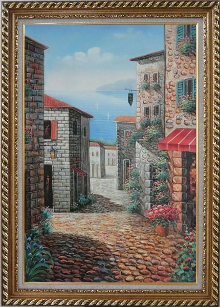 Framed Greek Stone Alley With Flowers Overlooking Mediterranean Sea Oil Painting Naturalism Exquisite Gold Wood Frame 42 x 30 Inches