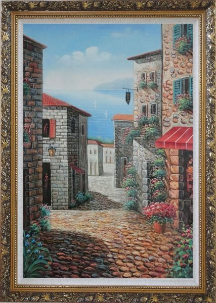 Framed Greek Stone Alley With Flowers Overlooking Mediterranean Sea Oil Painting Naturalism Ornate Antique Dark Gold Wood Frame 42 x 30 Inches