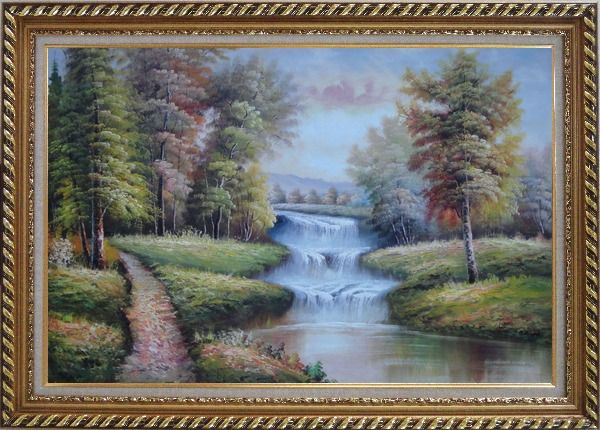 Framed Trail, Yellow Trees, Waterfall in Autumn Oil Painting Landscape Classic Exquisite Gold Wood Frame 30 x 42 Inches
