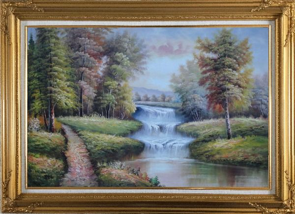 Framed Trail, Yellow Trees, Waterfall in Autumn Oil Painting Landscape Classic Gold Wood Frame with Deco Corners 31 x 43 Inches