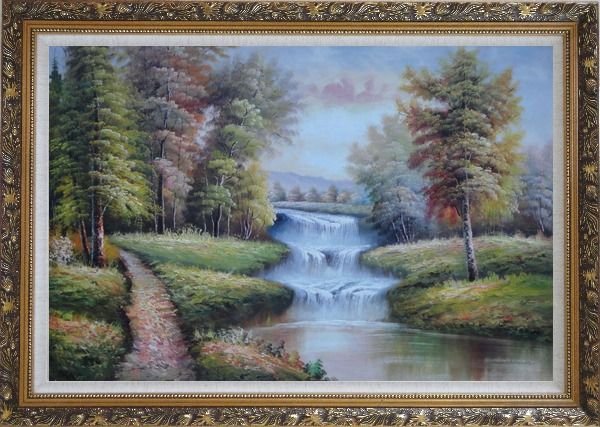 Framed Trail, Yellow Trees, Waterfall in Autumn Oil Painting Landscape Classic Ornate Antique Dark Gold Wood Frame 30 x 42 Inches