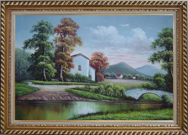 Framed Small Creek In Front of Village Oil Painting Landscape River Classic Exquisite Gold Wood Frame 30 x 42 Inches