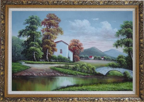 Framed Small Creek In Front of Village Oil Painting Landscape River Classic Ornate Antique Dark Gold Wood Frame 30 x 42 Inches