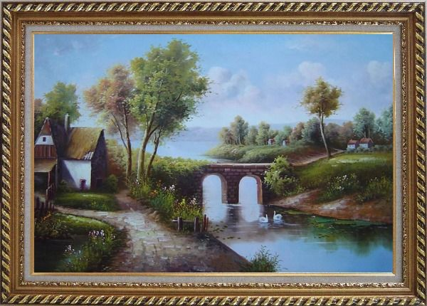 Framed Small River Bridge in Front of Cottage Oil Painting Landscape Classic Exquisite Gold Wood Frame 30 x 42 Inches