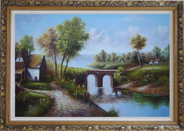 Framed Small River Bridge in Front of Cottage Oil Painting Landscape Classic Ornate Antique Dark Gold Wood Frame 30 x 42 Inches