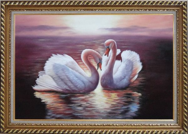 Framed Two White Swans Enjoying Times On Golden Lake Oil Painting Animal Naturalism Exquisite Gold Wood Frame 30 x 42 Inches