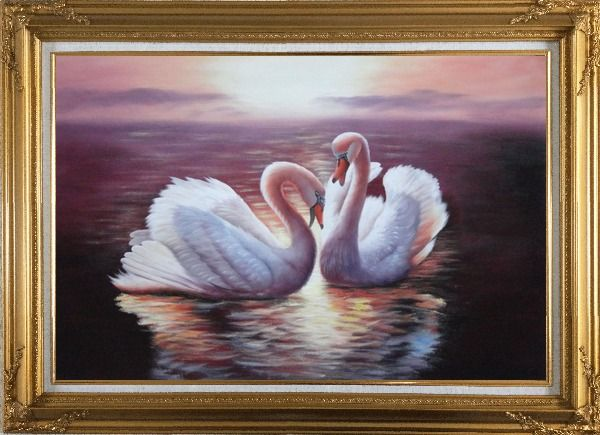 Framed Two White Swans Enjoying Times On Golden Lake Oil Painting Animal Naturalism Gold Wood Frame with Deco Corners 31 x 43 Inches