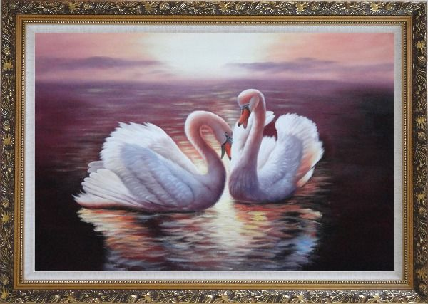 Framed Two White Swans Enjoying Times On Golden Lake Oil Painting Animal Naturalism Ornate Antique Dark Gold Wood Frame 30 x 42 Inches