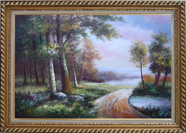 Framed Along a Muddy Path Oil Painting Landscape River Classic Exquisite Gold Wood Frame 30 x 42 Inches