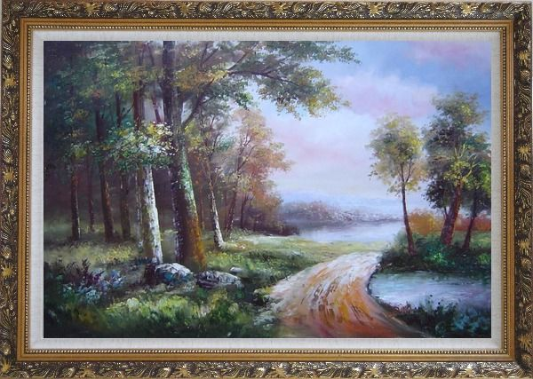 Framed Along a Muddy Path Oil Painting Landscape River Classic Ornate Antique Dark Gold Wood Frame 30 x 42 Inches
