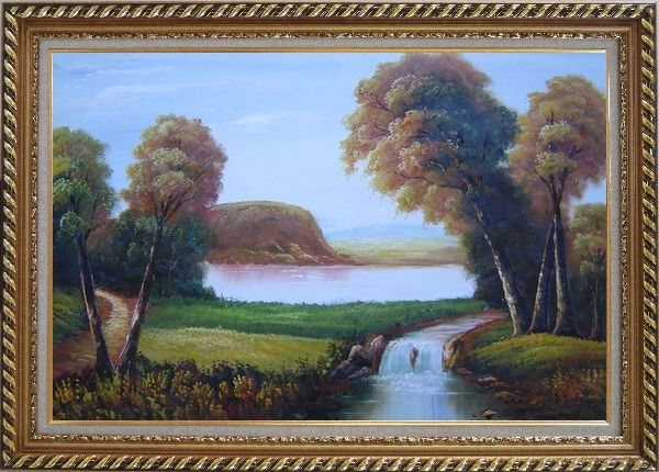 Framed Small Waterfall in Field Oil Painting Landscape River Classic Exquisite Gold Wood Frame 30 x 42 Inches