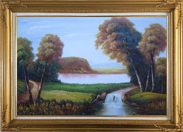 Framed Small Waterfall in Field Oil Painting Landscape River Classic Gold Wood Frame with Deco Corners 31 x 43 Inches