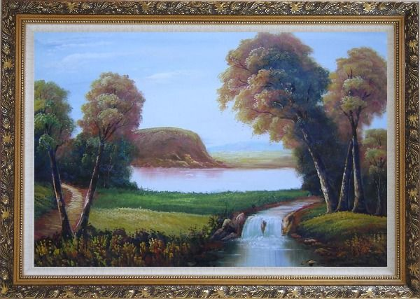 Framed Small Waterfall in Field Oil Painting Landscape River Classic Ornate Antique Dark Gold Wood Frame 30 x 42 Inches