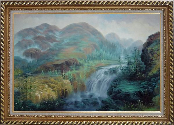 Framed Waterfall Rushing Down Green Covered Mountain Oil Painting Landscape Classic Exquisite Gold Wood Frame 30 x 42 Inches