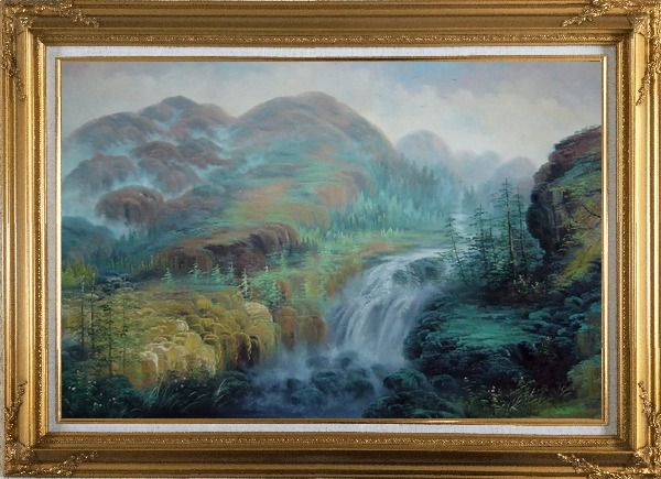 Framed Waterfall Rushing Down Green Covered Mountain Oil Painting Landscape Classic Gold Wood Frame with Deco Corners 31 x 43 Inches