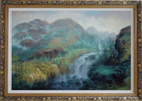 Framed Waterfall Rushing Down Green Covered Mountain Oil Painting Landscape Classic Ornate Antique Dark Gold Wood Frame 30 x 42 Inches