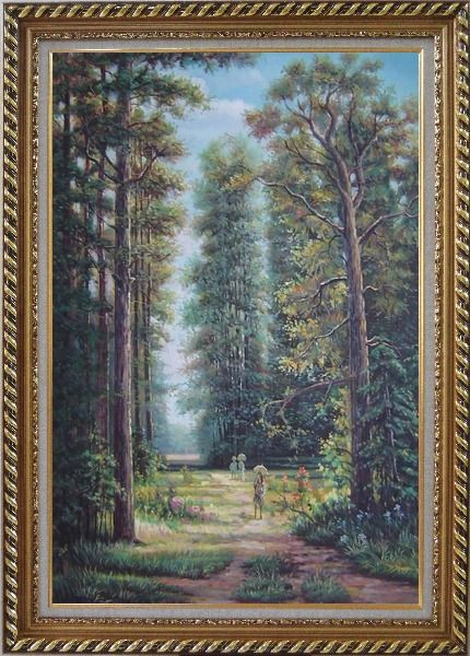 Framed Strolling in Garden with Old and Tall Trees Oil Painting Landscape River Classic Exquisite Gold Wood Frame 42 x 30 Inches