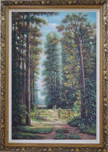 Framed Strolling in Garden with Old and Tall Trees Oil Painting Landscape River Classic Ornate Antique Dark Gold Wood Frame 42 x 30 Inches