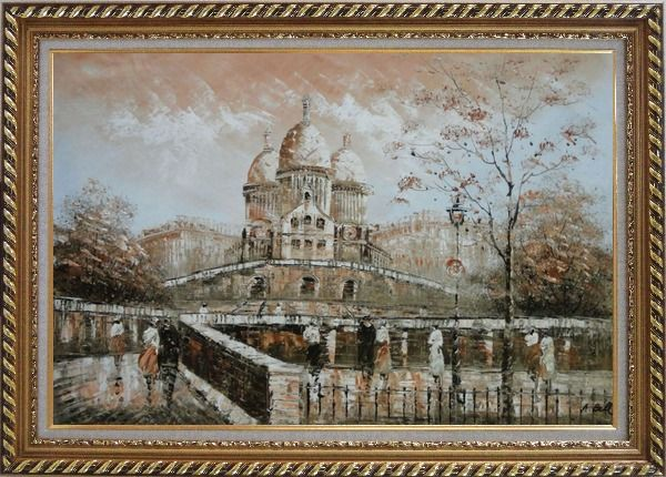 Framed People Stroll Near Sacre Coeur Basilica in Montmartre Oil Painting Cityscape France Impressionism Exquisite Gold Wood Frame 30 x 42 Inches