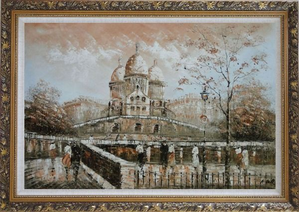 Framed People Stroll Near Sacre Coeur Basilica in Montmartre Oil Painting Cityscape France Impressionism Ornate Antique Dark Gold Wood Frame 30 x 42 Inches