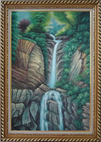 Framed Endless Song Oil Painting Landscape Waterfall Classic Exquisite Gold Wood Frame 42 x 30 Inches