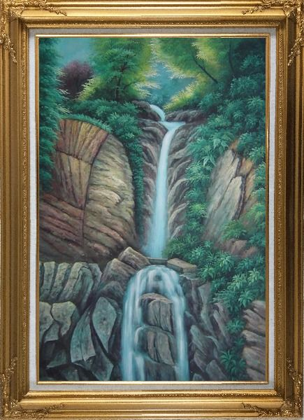 Framed Endless Song Oil Painting Landscape Waterfall Classic Gold Wood Frame with Deco Corners 43 x 31 Inches