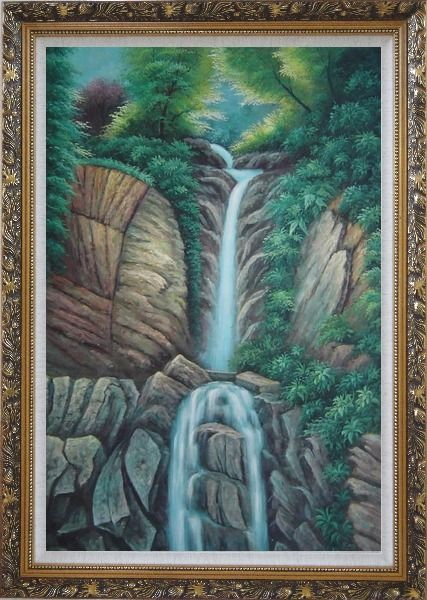 Framed Endless Song Oil Painting Landscape Waterfall Classic Ornate Antique Dark Gold Wood Frame 42 x 30 Inches
