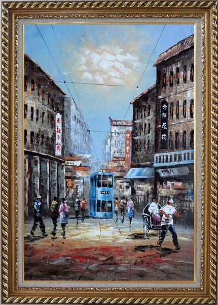 Framed Street of Shanghai in early Twentyth Century Oil Painting Cityscape China Impressionism Exquisite Gold Wood Frame 42 x 30 Inches