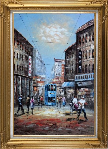 Framed Street of Shanghai in early Twentyth Century Oil Painting Cityscape China Impressionism Gold Wood Frame with Deco Corners 43 x 31 Inches