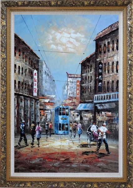 Framed Street of Shanghai in early Twentyth Century Oil Painting Cityscape China Impressionism Ornate Antique Dark Gold Wood Frame 42 x 30 Inches