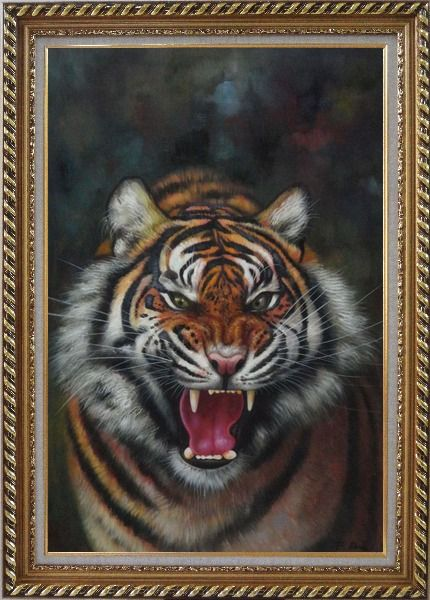 Framed A Powerful Roaring Tiger Oil Painting Animal Classic Exquisite Gold Wood Frame 42 x 30 Inches