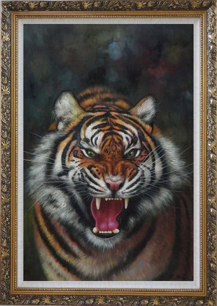 Framed A Powerful Roaring Tiger Oil Painting Animal Classic Ornate Antique Dark Gold Wood Frame 42 x 30 Inches