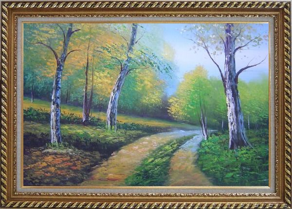 Framed Two Turbid Flows Passing Forest in Early Summer Oil Painting Landscape Tree Naturalism Exquisite Gold Wood Frame 30 x 42 Inches