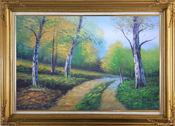 Framed Two Turbid Flows Passing Forest in Early Summer Oil Painting Landscape Tree Naturalism Gold Wood Frame with Deco Corners 31 x 43 Inches