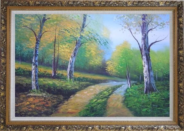 Framed Two Turbid Flows Passing Forest in Early Summer Oil Painting Landscape Tree Naturalism Ornate Antique Dark Gold Wood Frame 30 x 42 Inches