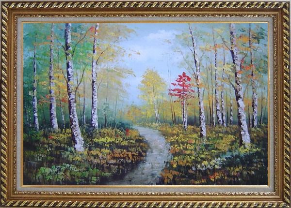 Framed Turbid Current Rushing through Forest with Falling foliage Oil Painting Landscape Tree Autumn Naturalism Exquisite Gold Wood Frame 30 x 42 Inches