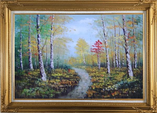 Framed Turbid Current Rushing through Forest with Falling foliage Oil Painting Landscape Tree Autumn Naturalism Gold Wood Frame with Deco Corners 31 x 43 Inches