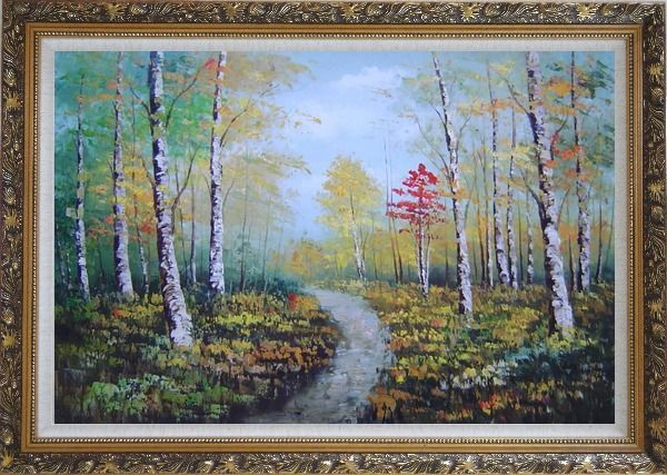 Framed Turbid Current Rushing through Forest with Falling foliage Oil Painting Landscape Tree Autumn Naturalism Ornate Antique Dark Gold Wood Frame 30 x 42 Inches