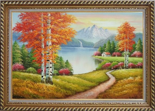 Framed Lake Autumn Trees and Alaska Snow-Covered Range Oil Painting Landscape Naturalism Exquisite Gold Wood Frame 30 x 42 Inches