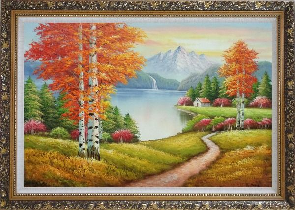 Framed Lake Autumn Trees and Alaska Snow-Covered Range Oil Painting Landscape Naturalism Ornate Antique Dark Gold Wood Frame 30 x 42 Inches